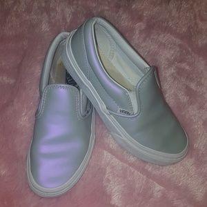 Leather slip on Vans Gray Pink Shimmer Iridescent